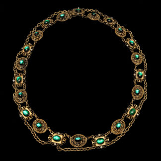 Big Necklace Gold/Amethist And Emerald 5