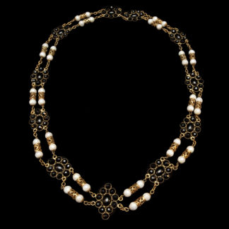 Big Necklace Gold/Jet And White 8
