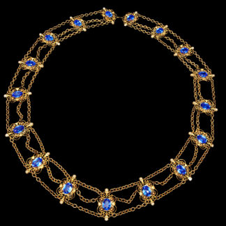 Big Necklace Gold/Sapphire And Turquoise 7